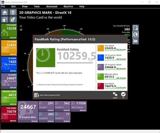PassMark PerformanceTest Screenshot