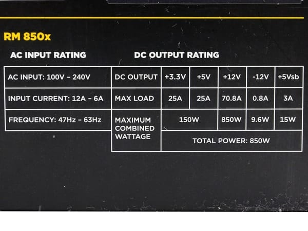 RM 850X - Understanding The Label Of The Power Supply Unit