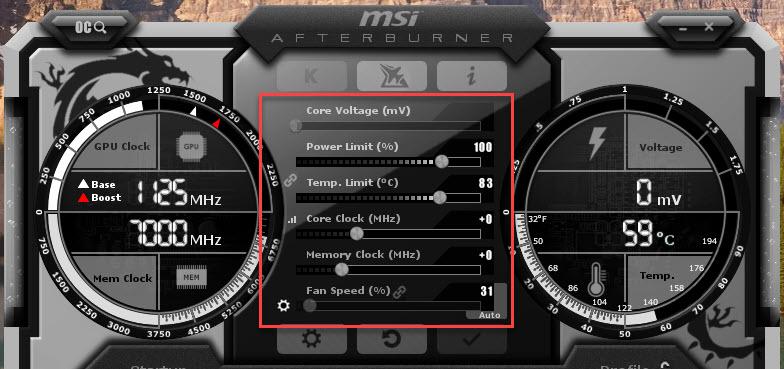 MSI Afterburner Screenshot Overclocking