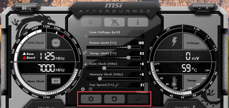 MSI Afterburner Screenshot Settings Reset Apply