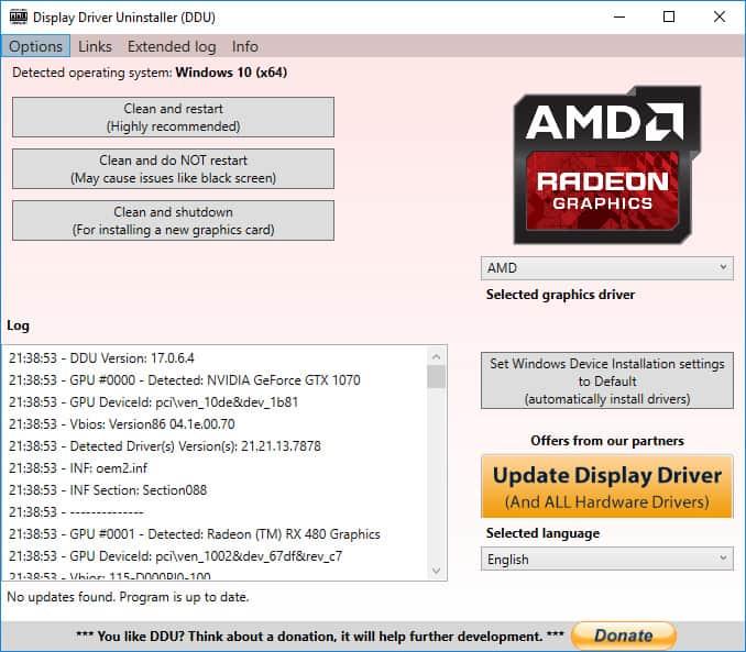 display driver uninstaller interface