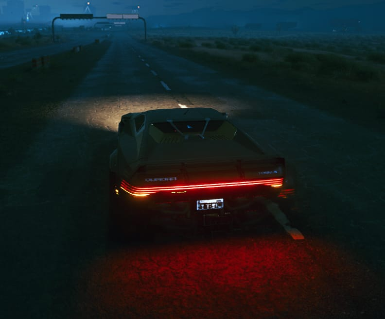 car taillights leaving trail